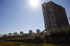 Sighthill flats under demolition (5) (dddoc1965) Tags: road blue red scotland high skies glasgow 21st sunny demolition flats reid april rise kenny sighthill 2016 dddoc davidcameronpaisleyphotographer