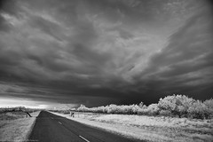 April 10, 2016 - Supercell Thunderstorm south of Harrold, Texas (SamInDallas) Tags: blackandwhite bw ir infrared 720nm supercellthunderstorm april102016