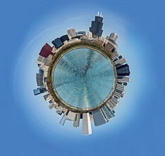 Tiny planet - Chicago skyline (Kevin Povenz) Tags: blue chicago buildings circle downtown cityscape outdoor round april 2016 illinios tinyplanet smallplanet canon7dmarkii kevinpovenz