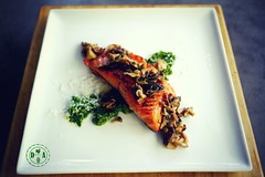 Trout over Spring Ramp Pesto and Mushrooms (atl10trader) Tags: fish dinner mushrooms spring ramp dish plate butter sherry trout poisson pesto printemps truite