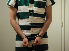 Rainer in jumpsuit and restraints (rainerzufall1234) Tags: handcuffs prisoner jumpsuit inmate handcuffed