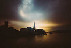 Descension (Panda1339) Tags: uk blue light sunset sky london yellow fog architecture towerbridge moody colours shard slightlyoversaturated