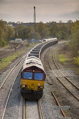 DBC 66041 at Clay Cross on 21-04-2016 (kevaruka) Tags: railroad light england sun color colour green art colors sunshine yellow composition train canon geotagged outdoors photography eos boat spring europe flickr day colours afternoon cross outdoor derbyshire vivid rail railway sunny trains front 66 class telephoto clay page april vehicle 5d british network freight springtime lightroom hst mk3 2016 freightliner ef100400 railfreight f4556l gbrf 66041 66711 tupton 5d3 5diii 21042016