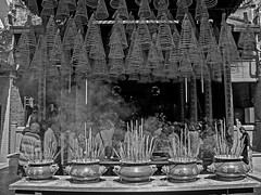 The Altar of Thin Hu Temple (BW)  - Ho Chi Minh City, Vietnam (bvi4092) Tags: travel blackandwhite building monochrome photoshop temple mono nikon worship asia noiretblanc interior smoke altar vietnam pots inside nikkor saigon incense hochiminh d300s 18105mmf3556 nikon18105mmf3556 thinhu