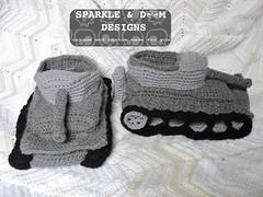 Tank Slippers 02c (zreekee) Tags: canada crochet saskatchewan slippers tanks tankslippers sparkledoomdesigns