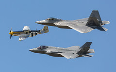 Mustang, Raptor, and Lightning (Rob Shenk) Tags: airplane fighter jets airplanes airshow raptor stealth f22 mustang airforce p51 f35 langleyafb lightningii