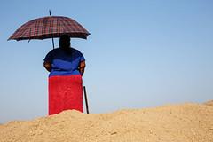 Woman with umbrella - Kalewa, Myanmar (Maciej Dakowicz) Tags: woman umbrella sand asia burma kalewa muyanmar