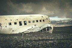 Plane Wreck (Camera_Shy.) Tags: sky abandoned beach clouds plane airplane iceland sand united navy super vik angry states wreck douglas dc3 dakota slheimasandur