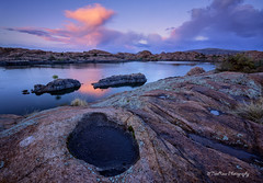 After the Rain (TreeRose Photography) Tags: sunset arizona sky tree water rain clouds reflections rocks stormy textures puddles prescott rockformations willowlake granitedells