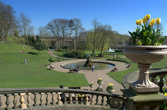 Ornate Miller Park at Preston (Tony Worrall Foto) Tags: park county uk england nature beauty yellow stone stairs outdoors spring cool nice stream tour open place tulips northwest unitedkingdom country north victorian visit location lancashire pots area vase preston ornate northern update millerpark attraction lancs welovethenorth