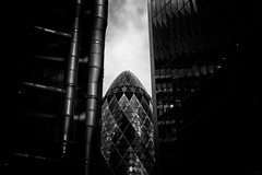 Gherkin Sandwich (ShrubMonkey (Julian Heritage)) Tags: street city urban bw abstract architecture modern buildings dark mono moody sandwich strong tall gherkin bold limestreet stmaryaxe willisbuilding lloydsoflondon