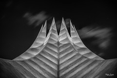 The Crown of the Night (Mabloo) Tags: street city travel sky urban white abstract black berlin art monochrome architecture modern night clouds germany dark photography hall top fine architectural jag crown tempodrom