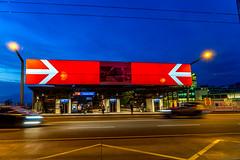 Ad for the new tram (jaeschol) Tags: red switzerland zurich railway sbb arrow zrich kreis5 hardbruecke
