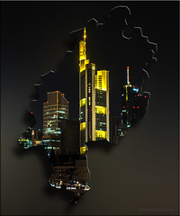 Hessen Frankfurt (Captain Bembel) Tags: light skyline night lights hessen map frankfurt karte commerzbank