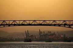 The Link - 2 (jeangrgoire_marin) Tags: bridge sunset water car landscape harbor twilight traffic ships link commuting relation