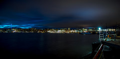 Aker Brygge, Oslo Panorama (cpphotofinish) Tags: ocean blue autumn light sky urban panorama color colour reflection fall water weather yellow oslo norway night clouds canon outside eos bay norge photo reflex opera foto nightshot image outdoor mark panoramic norwegian nightlight fjord nordic usm dslr scandinavia bilder vann oslofjord bluelight kaia oslofjorden høst bilde norske farger mk3 osloharbour akershusfestning canonef ef24105mmf4lisusm visitnorway akershusfortress oslocityhall oslooperahouse carstenpedersen canonmkiii mklll eos5dmk3 oslobay cpphotofinish canonredlable dslroslofjordfjord