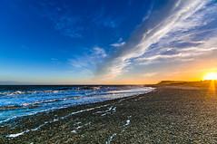 Sunset Covehithe Beach (kevbphotography) Tags: uk sea orange beach water reflections coast suffolk sand colours tide east coastal sunet anglia covehithe