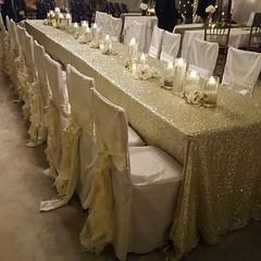 Bling and ruffles are always perfect in the barn #royalridgewedding #arkansasbride #southernweddings #theknot #rusticwedding #weddingwire #barnweddings #forestcreekbarn #soloverly #headtable #blingit (ericclark) Tags: rustic barnwedding barnweddings