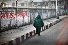 Islam can be green too ! (N A Y E E M) Tags: street morning winter woman graffiti muslim islam hijab pedestrian windshield bangladesh burqa chittagong crbroad