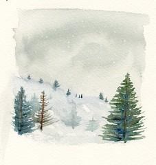 sapin et neige (ybipbip) Tags: watercolor painting paper landscape paint aquarelle peinture watercolour acuarela paysage aquarela aquarell acquerello akvarell stcutberth