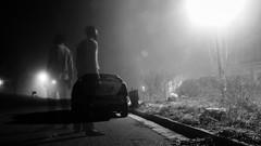 Ghost Town (ndemeraj) Tags: blackandwhite abandoned night streetlight ghost haunted brightlight haunting oldcar