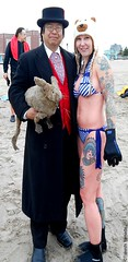 Dr. Takeshi Yamada and Seara (Coney Island Sea Rabbit) at the winter swimming event by the Coney Island Polar Bear Club at the Coney Island Beach in Brooklyn, New York on January 17 (Sun), 2015.  mermaid.  20160117Sun DSCN3451=ps10C1. Laura (searabbits23) Tags: winter ny newyork sexy celebrity art beach fashion animal brooklyn asian coneyisland japanese star yahoo costume tv google king artist dragon god cosplay manhattan wildlife famous gothic goth performance pop taxidermy cnn tuxedo bikini tophat unitednations playboy entertainer samurai genius donaldtrump mermaid amc mardigras salvadordali billclinton hillaryclinton billgates aol vangogh curiosities bing sideshow jeffkoons globalwarming takashimurakami pablopicasso steampunk damienhirst cryptozoology freakshow barackobama polarbearclub seara immortalized takeshiyamada museumofworldwonders roguetaxidermy searabbit ladygaga climategate