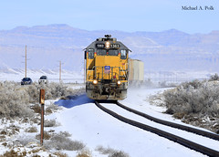 UP 1363 @ Crescent Jct, UT (Michael Polk) Tags: park up cane creek train utah ut pacific union arches junction crescent national moab freight subdivision gp402 1363