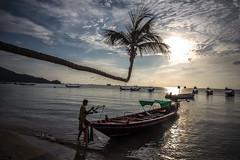 Sairee Beach - Thailand (Lauren :o)) Tags: ocean sunset sea beach thailand island boat paradise kohtao longtail longtailboat turtleisland desertisland saireebeach sairee