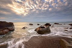 Fangshan Coast, Taiwan  (Vincent_Ting) Tags: light sunset sea sky seascape beach water clouds coast rocks waves taiwan   milky  silky crepuscularrays          vincentting
