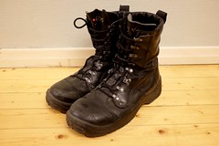 well-worn shoes 3 (arcatan) Tags: black leather fashion shoes boots footwear wornout combatboots mensshoes jalas