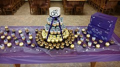 Wedding Cake and Cupcake Tower (tasteoflovebakery) Tags: wedding cake cupcake tower purple vanilla lemon delight turtle