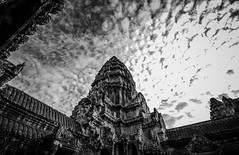 Angkor Wat (markchan0516) Tags: old city travel sky building monochrome architecture clouds temple ancient asia cambodia angkorwat siemreap angkor