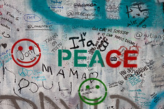 Lennon Wall (Chris in Czech) Tags: wall john graffiti flickr colours peace prague outdoor praha walls friday lennon mala zed strana lennonova