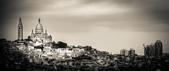 Montmartre sorti des ombres (Matthieu Manigold) Tags: city light bw panorama white paris beach clouds nikon butte view noiretblanc montmartre lumiere blanc ville sacrcur
