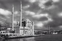 The beauty mosque (RI70) Tags: bridge winter sea blackandwhite architecture square landscape turkiye istanbul mosque squareformat strait bosphorus ortakoy iphoneography instagramapp