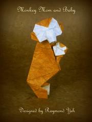 Monkey Mom and Baby designed by Raymond Yeh (aka Reneerae Yeh) (Thomas Krapf Origami) Tags: baby paper mom origami ape raymond papier paperfolding yeh affe mokey papierfalten reneerae