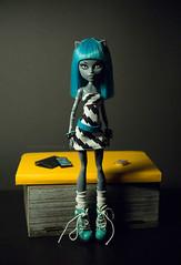 My werecat got a new hair (dancingmorgana) Tags: blue monster cat hair grey high doll ooak wig custom werecat meowlody