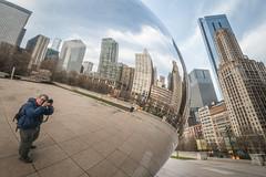 Shooting the Bean (HubbleColor {Zolt}) Tags: travel urban selfportrait chicago illinois bean millenniumpark cloudgate selfie