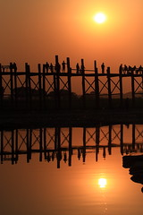 Illusion (deus77) Tags: wood bridge sunset sun reflection silhouette reflections landscape foot wooden scenery view burma silhouettes bein double illusion u myanmar burmese mandalay teak amarapura ubeinbridge teakwood