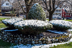 Calm after the storm (kuntheaprum) Tags: snow flag malden aprilfool aprilsnow belrockpark