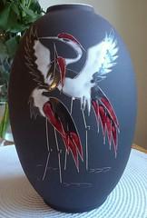 "Arno Kiechle Keramik - Vase (520, ""Reiher"") (Ahornblatt2012) Tags: heron vintage ceramic 60s retro vase pottery 50s arno adele midcentury westgermany keramik mcm designclassic reiher wgp bolz kiechle darkengobe"