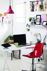 Creative space (King Creative Media) Tags: pink red stilllife white home cup coffee hat fashion pen work computer magazine blog office clothing colours technology pieces dress desk background laptop room drawings style objects blogger professional indoors domestic jersey workspace lipstick overhead stylish essentials creativespace heeledshoes rimmedglasses