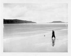 (Matt Chalky Smith) Tags: reflection beach polaroid football fuji child rhosilli instantfilm thegower 100b roidweek
