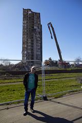 Sighthill flats under demolition (6) (dddoc1965) Tags: road blue red scotland high skies glasgow 21st sunny demolition flats reid april rise kenny sighthill 2016 dddoc davidcameronpaisleyphotographer