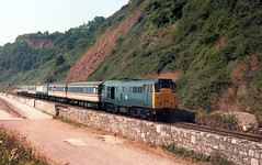 31458 Teignmouth August 1989 (seawall) Tags: teignmouth class31 31458