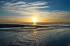 Embouchure du Tech. (sergecos) Tags: sea sky sun mer reflection sol beach water clouds sunrise mouth river soleil mar mediterranean tech rivire reflet ciel nuages leverdesoleil mditerrane embouchure
