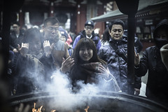Cleansing (Connor_96) Tags: travel people woman cute girl beautiful japan outdoors temple sensoji fire japanese nikon women shrine pretty smoke prayer culture 28 asakusa burner tamron incense crowed d610 2875