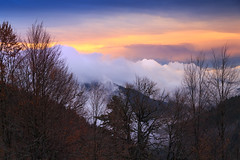 Last colors of the day... (Explored 17.04.2016) (RKAMARI) Tags: travel autumn trees mountains colour fall nature fog clouds forest skyscape evening nationalpark outdoor hill cities bolu yedigller