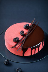 """Rubus"" - Blackberry, Chocolate and Cream Cheese Mousse Entremet. (iuda) Tags: red stilllife food black cold cake cheese french dessert frozen baking berries blackberry sweet chocolate contemporary decoration velvet spray sugar gourmet professional celebration delicious biscuit patisserie glaze icecream pastry jelly cocoa creamcheese jam sponge amoras joconde baked mousse confiture foodphoto layered patissier foodphotography entremet"