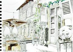 Melle, la Demeure 1823, jardin (Croctoo) Tags: watercolor aquarelle boutique croquis poitou melle poitoucharentes croctoo croctoofr